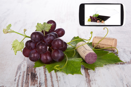 culinary arts: Red wine grape with wine cork on white wooden textured background and smartphone with red wine information. Information age and Culinary arts.