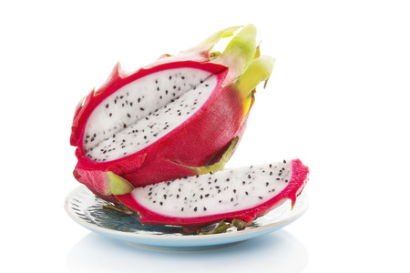 Delicious ripe dragon fruit isolated on white background photo