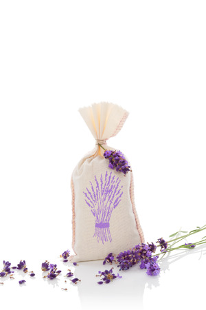 lavender:   Lavender herbs and bag with dry lavender isolated on white background.