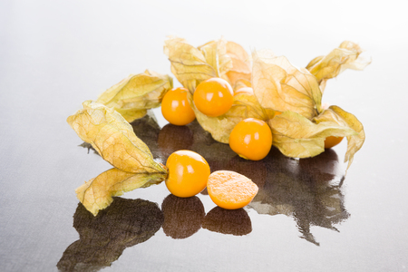 husk tomato: Physalic background. Delicious healthy fruit eating.