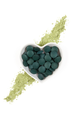 spirulina: Chlorella, spirulina and wheatgrass. Green superfood, detox, healthy living,