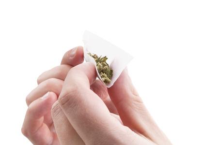 fumando: Manos aisladas sobre fondo blanco rueda una junta de cannabis. Fumar adicción a la marihuana. Foto de archivo