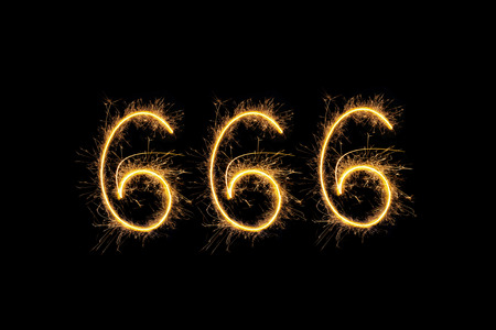 Sparkling Digits 666 Isolated On Black Background Hell Death
