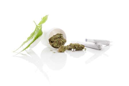 reefer: Medical marijuana. Cannabis bud and leaf and white container isolated on white background with reflection