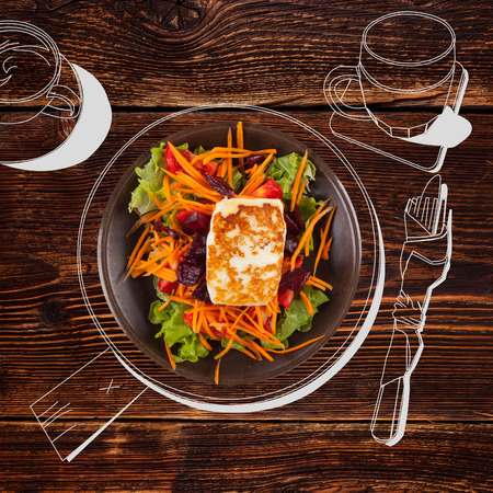 fine dining: Delicious grilled halloumi cheese with salad. Fine dining, exquisite luxurious gastronomy background. Stock Photo