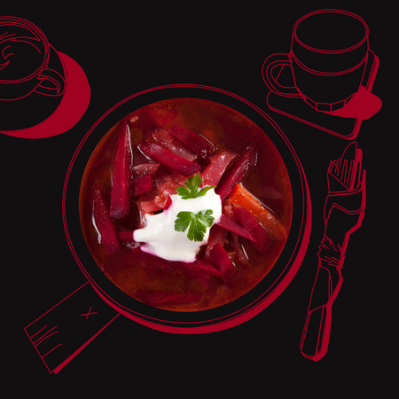 borscht: Delicious borsch soup. Fine dining, exquisite luxurious gastronomy background.
