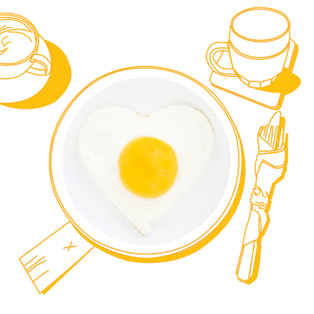 fried egg: Sunnyside fried egg. Photography and illustration. Stock Photo