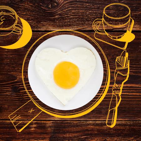 fried egg: Sunnyside fried egg. Photography and illustration. Stock Photo