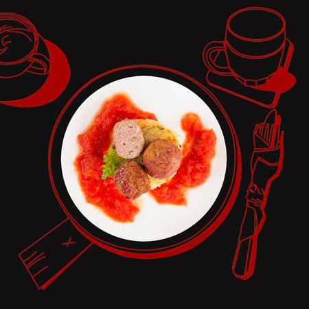 fine dining: Delicious meatballs. Fine dining, exquisite luxurious gastronomy background.