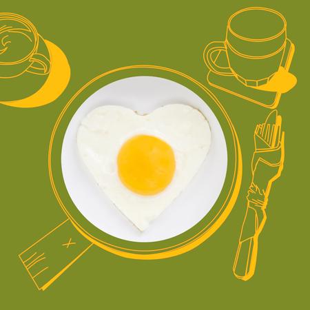 sunnyside: fried egg. Photography and illustration.