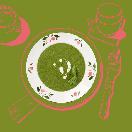 luxurious: Delicious spinach soup. Fine dining, exquisite luxurious gastronomy background.