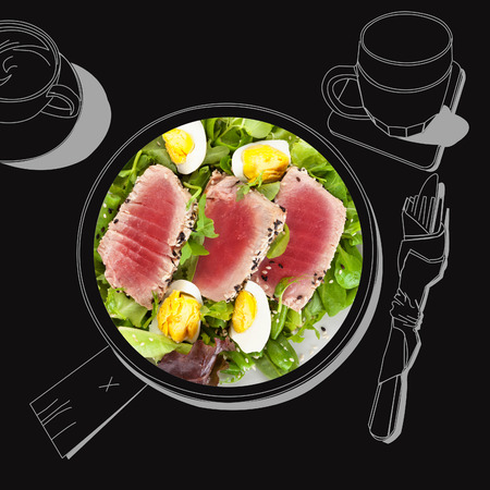 fine dining: Delicious tuna steak with salad. Fine dining, exquisite luxurious gastronomy background.