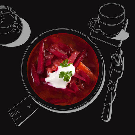 borscht: Delicious borsch soup. exquisite luxurious gastronomy background.