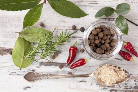 condiment: Bay leaves, traditional spice and condiment on white wooden background. Stock Photo