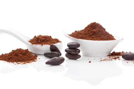 cocoa powder: Cocoa beans and cocoa powder in white bowl and white spoon on white background. Healthy superfood. Stock Photo