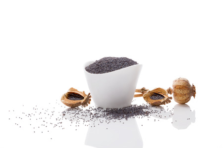 opiate: Poppy seeds in white bowl isolated on white background.