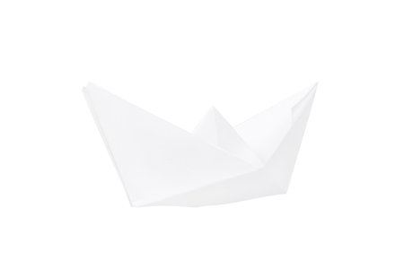 paper boat: Paper boat isolated on white background. Paper fold boat.