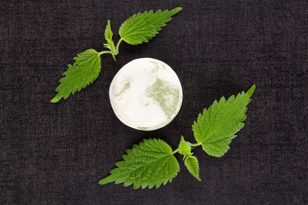stinging: Stinging nettle cosmetics. Fresh nettle leaves and organic hard soap. Healthy natural cosmetics.