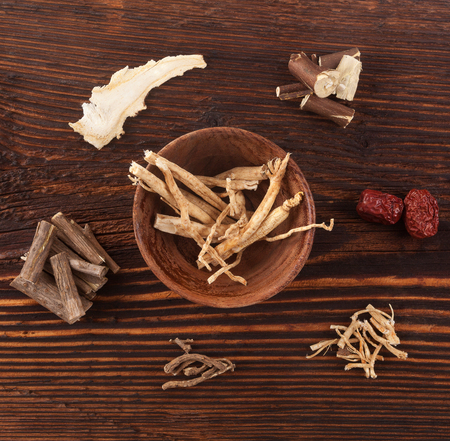 Ashwagandha and various asian medical herbs. Adaptogen background. Natraul medical supplements. Banco de Imagens