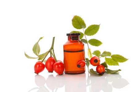 Rose hip. Medicine bottle with hip roses, isolated on white. Fresh briar isolated on white background. Wild rose.