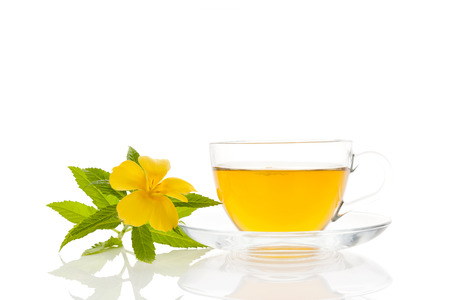 Damiana flower, leaves and tea isolated on white background. Stok Fotoğraf