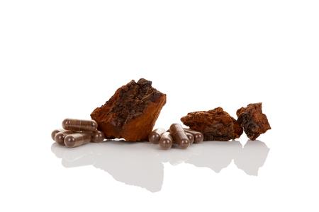 Inonotus obliquus, chaga pieces and supplement in gel capsules isolated on white background. Medicinal mushroom.