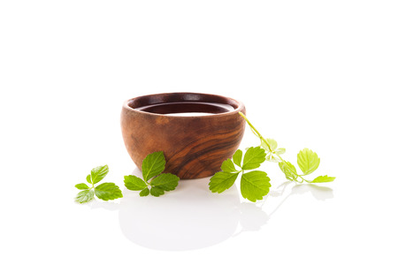 Gynostemma pentaphyllum leaves and tea extract in bowl isolated on white background. Standard-Bild