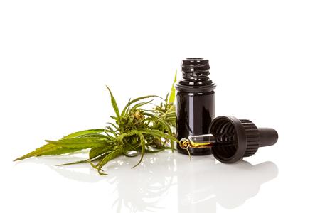 Cannabisöl Cannabidiol in Pipette mit Marihuanapflanze isoliert auf weiss. CBD-Konzept.