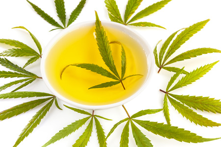 CBD marijuana oil extract with marijuana leafs, isolated on white background. Medical marijuana, herbal remedy. Imagens