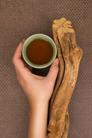 Drinking ayahuasca. Female hand holding a bowl with psychedelic drink yage and banisteriopsis caapi wood. Stockfoto