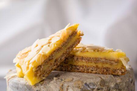 Swedish almond cake. Sweet dessert background with copy space. Archivio Fotografico