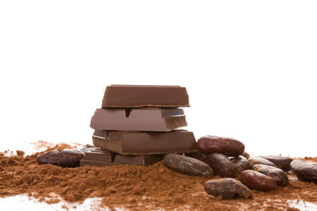 Composition with chocolate, cocoa beans and  powder on white background.