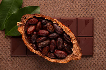 Chocolate bar and cocoa beans from above. Natural superfood. Stok Fotoğraf