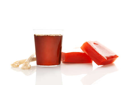 Collagen drink and jelly isolated on white background. Natural beauty and health supplement for skin and bones.