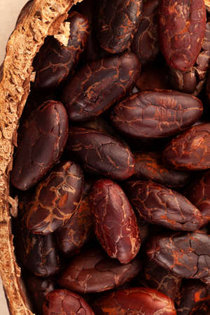Detail of fresh peeled cocoa beans in a pot from above. Superfood background. Stok Fotoğraf