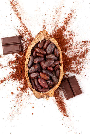 Culinary chocolate eating. Cocoa beans, chocolate bar and cacao powder isolated on white, flat lay.