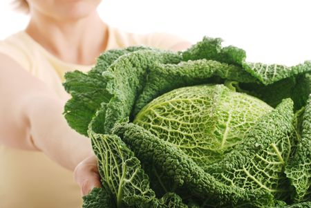 Woman offering fresh savoy cabbage - isolated Stock Photo - 3663419