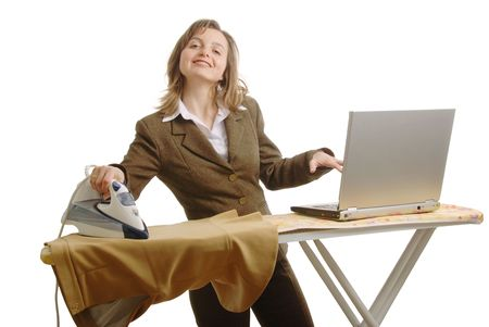 bussiness: Bussiness woman with laptop and iron Stock Photo