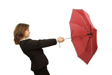 recruit help: Business woman with red umbrella