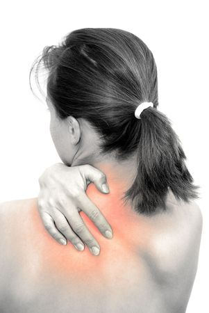 Pian in neck marked with red on BW body of young woman                       Stock Photo