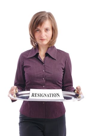 brings: Business woman brings letter on tray with resignation written on it - isolated