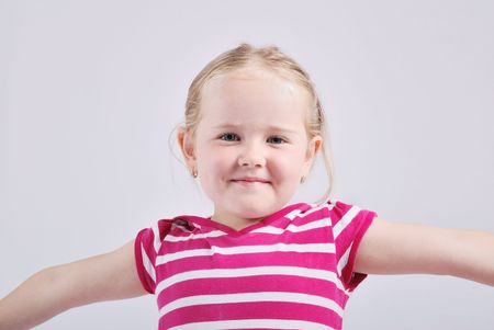 Studio portrait of happy child - isolated Stock Photo - 3674672