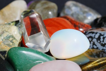 esoterics: Set of semiprecious gemstones used in alternative medicine for healing and in esoterics  Stock Photo