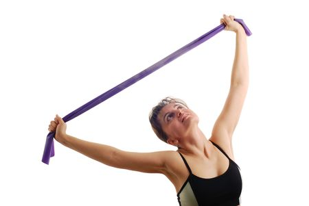 Attractive fitness woman exercising with rubber Stock Photo - 3680975