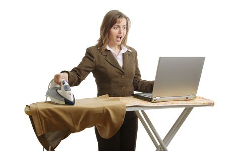 woman ironing: Stressed business woman working - isolated