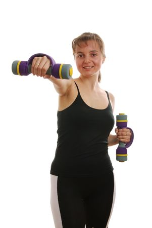 strenght: Smiling attractive fitness woman with barbells                          Stock Photo