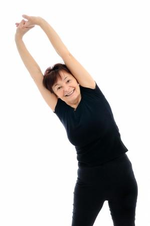 Smiling senior fitness woman