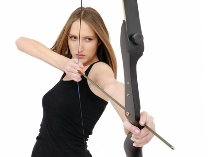 Beautiful woman aiming with bow and arrow Stock Photo - 4266596