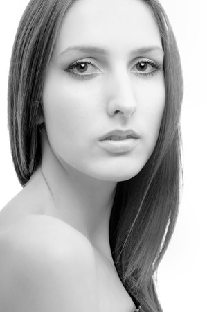 Portrait of young beautiful woman  - isolated on white Stock Photo - 4303019