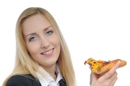Young smiling business woman with pizza isolated on white photo